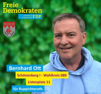 Bernahrd Ott, Kandidat der FDP-Ruppichteroth im Wahlbezirk 090 (Schönenberg I)