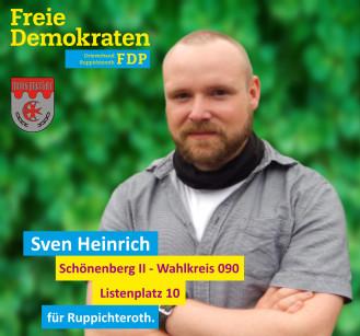 Sven Heinrich, Kandidat der FDP-Ruppichteroth für den Wahlbezirk 090 (Schönenberg I)
