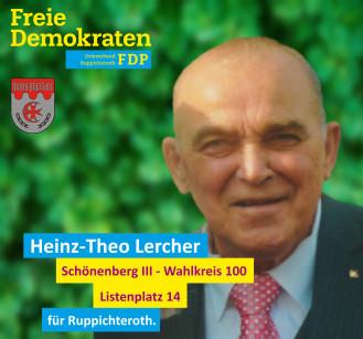 Theo Lercher, Kandidat der FDP-Ruppichteroth für den Wahlbezirk 100 (Schönenberg III)