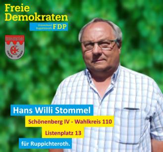 Hans Willi Stommel, Kandidat der FDP-Ruppichteroth im Wahlbezirk 110 (Schönenberg IV)