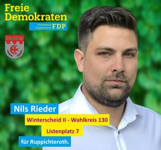 Nils Rieder, Kandidat der FDP-Ruppichteroth für den Wahlbezirk 130 (Winterscheid II)